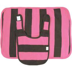 Pink and Chocolate Stripe Organic Cotton Bib and Burp Set