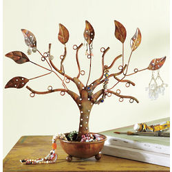 Copper Leaves Jewelry Tree
