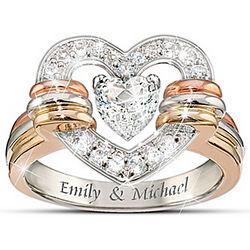 Personalized Heart Full of Love White Topaz Ring