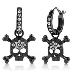 Black Rhodium Plated Skull and Crossbones Dangle Earrings