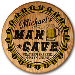 Personalized Man Cave Barrel Head Sign