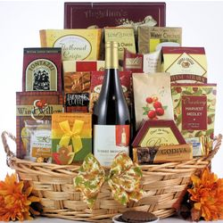 Traditional Thanksgiving Wishes Gourmet Wine Gift Basket
