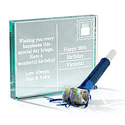 Personalized Birthday Postcard Glass Block