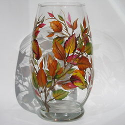 Fall Leaves Hurricane Candle Holder
