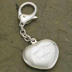 Personalized Mother's Heart Silver Plated Key Chain