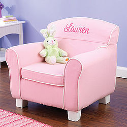 Personalized Pretty in Pink Upholstered Chair