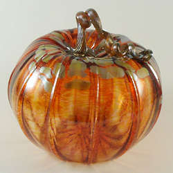 Large Glass Pumpkin in Harvest Gold