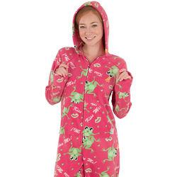 Women's Kiss Me Hoodie-Footie Pajamas