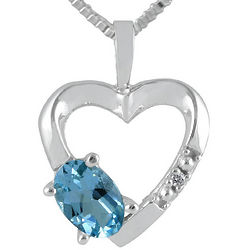 10K White Gold Blue Topaz and Diamond Heart Pendant