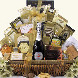 Grand Gourmet Martini & Rossi Sparkling Wine Gift Basket