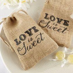 Love is Sweet Burlap Favor Bags