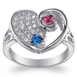 Sterling Silver Mother and Daughter My Beloved Birthstone Ring