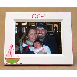 Hand-Painted Sailboat Picture Frame in Pink