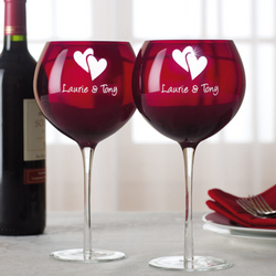 Personalized Valentine Balloon Wine Glass Set