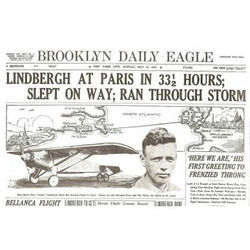 Charles Lindbergh Historic Flight Replica Newspaper