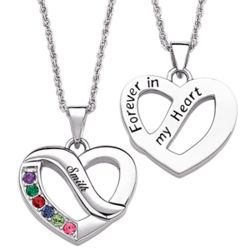 Family Name and Birthstone Heart Pendant