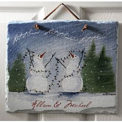 Personalized Snow Couple Welcome Slate Plaque