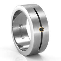 Grooved Titanium Ring with Black Diamond