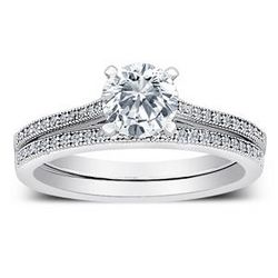 Cathedral Cubic Zirconia and Sterling Silver Wedding Ring Set