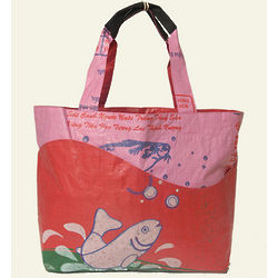 Pink Recycled Rice Bag Wave Tote
