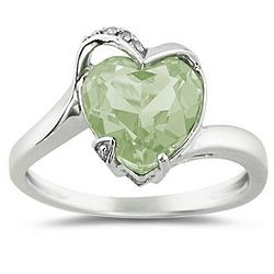 Heart-Shaped Green Amethyst and Diamond Curve Ring