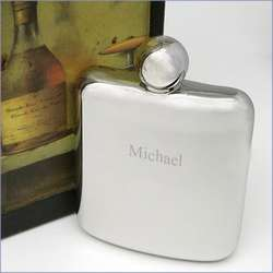 Smooth Stainless Steel Personalized 6 Oz. Flask