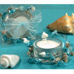 Unique Blue Beach Shells Candle Holder