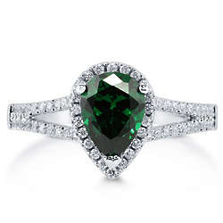 Pear Cut Emerald CZ Silver Halo Ring with Split Shank