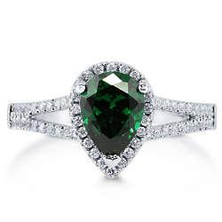 Pear Cut Emerald CZ Silver Halo Ring with Split Shank