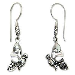 Little Butterfly Sterling Silver Dangle Earrings