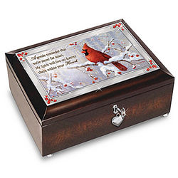 Remembrance Music Box with Cardinal Artwork and Poem