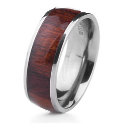 Men's Wood Inlay Titanium Ring with Personalized Engraving
