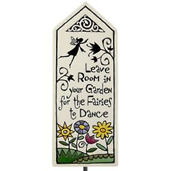 Leave Room for Fairies to Dance Ceramic Tile Garden Stake