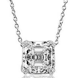Asscher CZ Sterling Silver Solitaire Pendant Necklace