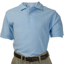 Short Sleeve Pique Polo in Light Blue