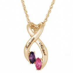Couples Marquise Birthstone Ribbon Name Pendant