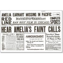 Amelia Earhart Historic Coverage Replica Newspaper