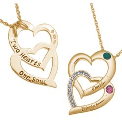 Couples Name and Birthstone Entwined Hearts Diamond Necklace