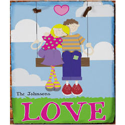 Personalized Couple on a Swing Slate Plaque
