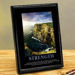 Strength Cliffs Framed Motivational Desktop Print