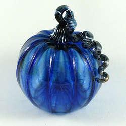Medium Blue Glass Pumpkin