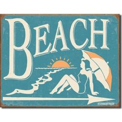 Tin Beach Sign