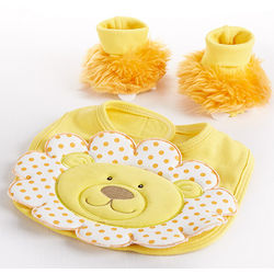Lion Bib and Booties Gift Set