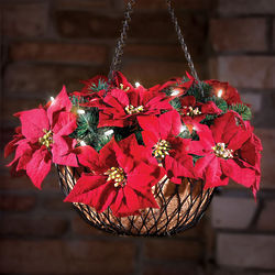Cordless Hanging Holiday Poinsettia Basket