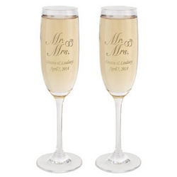 Personalized Mr. and Mrs. Toasting Flutes