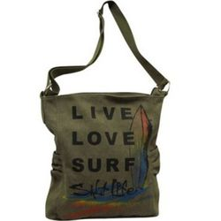 Live Love Surf Olive Green Tote