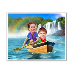 Canoe with Mom Caricature from Photos