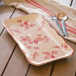 Red Bird Toile Serving Platter