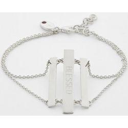 Personalized Silver Sentiments Triple Bar Bracelet