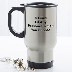 Personalized Stainless Steel Travel Mug with Easy-Grip Handle